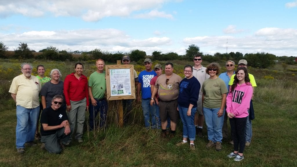 Participants from the Indiana chapter fall meeting visiting the breeding orchard in Jackson-Washington State Forest. Photo by Stephanie Eft.