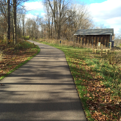 Part of the McCoy Creek Trail that shows a fitness center, upper right.